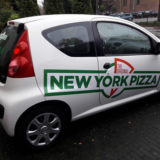New York Pizza nieuw logo autobelettering, ede amersfoort, bussum, arnhem den bosch, riko reclame